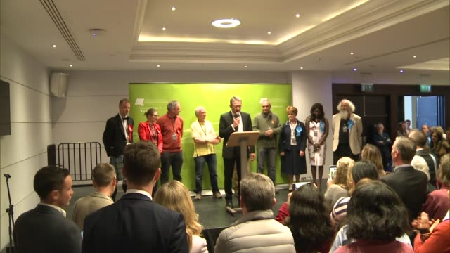 results roundup UK London Richmond Liberal Democrat candidate returning officer announcing results Liberal Democrat candidate in jumper Mark Maidment...