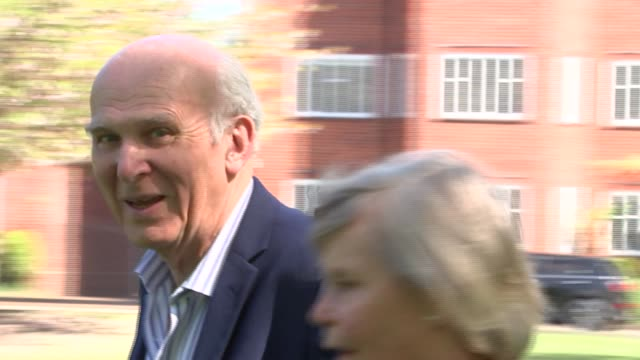 results round-up: vince cable in richmond / richmond general views; sir vince cable mp arriving and speaking to supporters sot / cable parks his bike... - vince cable stock videos & royalty-free footage