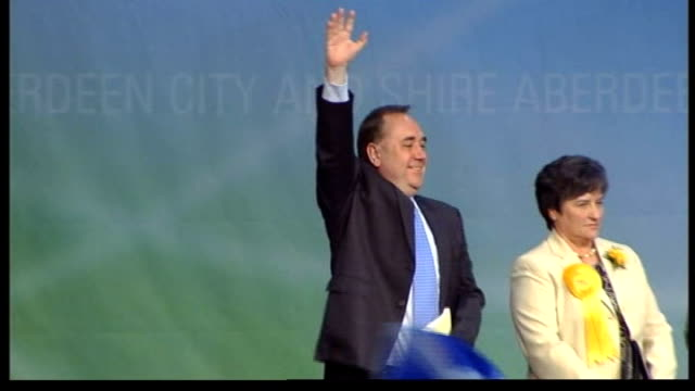 snp becomes biggest party in scottish parliament/ voting system chaos scotland aberdeen photography** alex salmond waves to cheering supporters from... - scottish national party stock videos & royalty-free footage