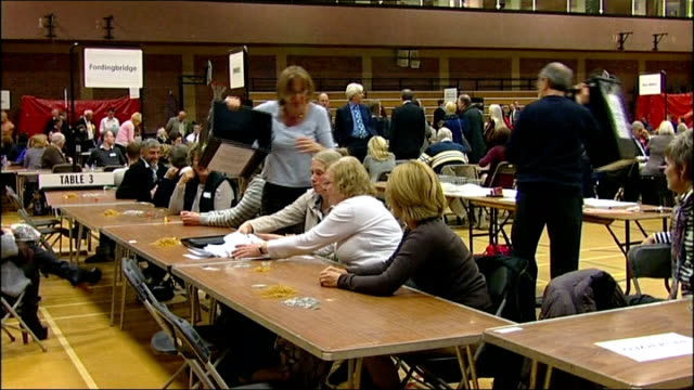 ukip make big gains / labour win south shields byelection hampshire int various of local election votes being counted at tables unidentified ukip... - south shields stock videos & royalty-free footage
