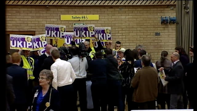 ukip make big gains / labour win south shields byelection tyne and wear south shields int ukip supporters holding up ukip placards at south shields... - south shields stock videos & royalty-free footage