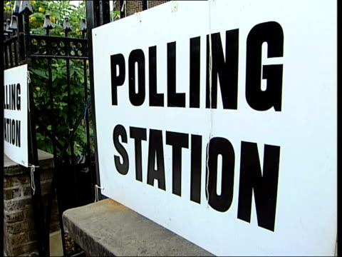 Local/ European/ Mayoral Elections Voting ITN ENGLAND London EXT Male voters arriving at polling station MS Ken Livingstone arriving at polling...