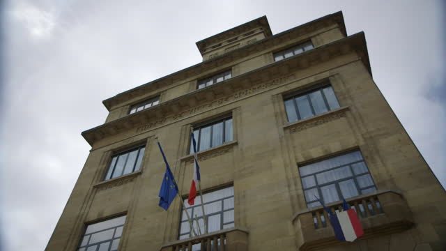 las local government building in paris suburbs - french flag stock videos & royalty-free footage