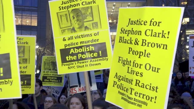 local high school students joined forces with black lives matter activist to protest the death of stephon clark a 22 year old black man and father of... - gun violence protest stock videos & royalty-free footage