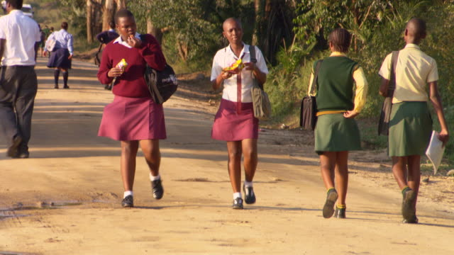 local life and local people children walking to school from country road / durban south africa - kwazulu natal stock videos & royalty-free footage