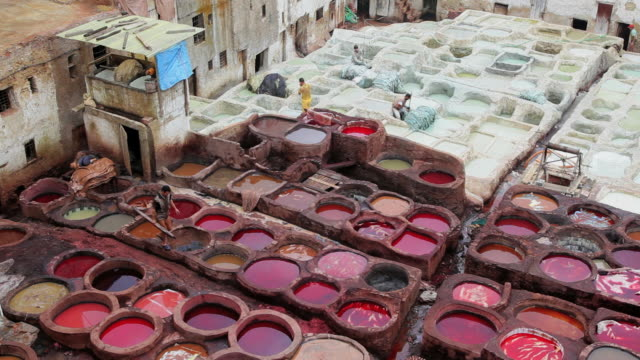 local manual workers at the leather tanneries, fez, morocco, africa - male likeness stock videos & royalty-free footage
