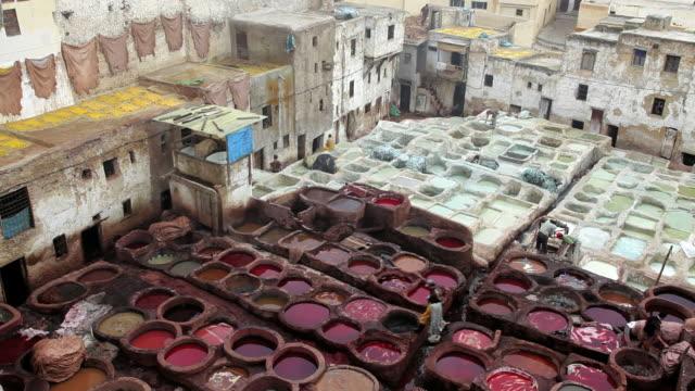 Local manual workers at the Leather Tanneries, Fez, Morocco, Africa