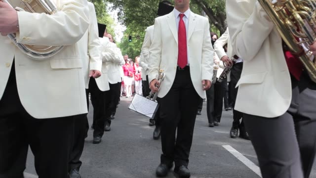 local music band perfuming during the traditional san fermin procession in pamplona spain july 7 2012 fiesta de san fermin 2012 on july 07 2012 in... - comunidad foral de navarra stock videos and b-roll footage