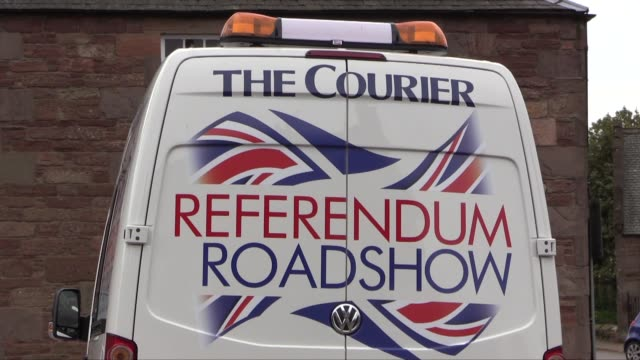 a local newspaper the dundee courier is doing 'referendum roadshows' in various towns and villages seeking public opinion before the september 'in or... - referendum stock videos and b-roll footage