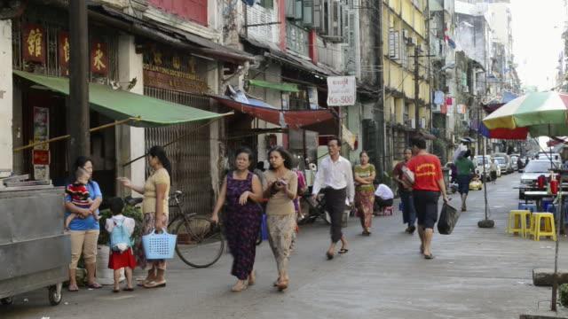MS Local people walking in 19th street / Yangon, Yangon Division, Myanmar