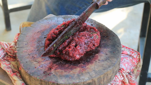Local raw meat cooking in Asian style