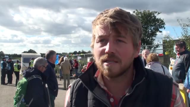 Local resident Eddie Thorton speaks outside the compound gates about the ongoing protest against the Third Energy project Police move protesters so...