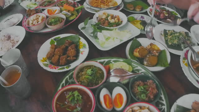 local thai food , sharing and passing food - over eating stock videos & royalty-free footage