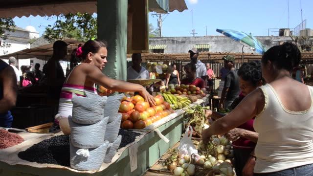 local vegetable and fruit market activity with vendor in Santiago de Las Vegas Cuba