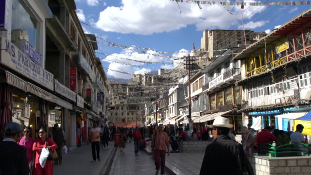 Locals And Tourists Enjoying The Evening On The  Central Street In Leh, Ladakh