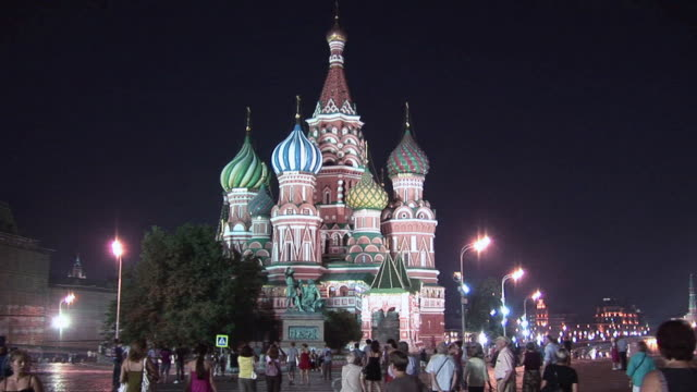 ws locals and tourists walking around red square in front of st. basil's cathedral / moscow, russia - st. basil's cathedral stock videos and b-roll footage