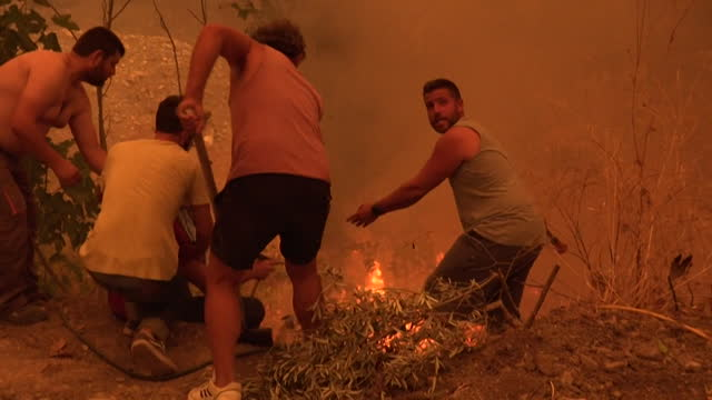 locals on the island of evia, greece, helping to try and stop the wildfires spreading across the island - greece stock videos & royalty-free footage