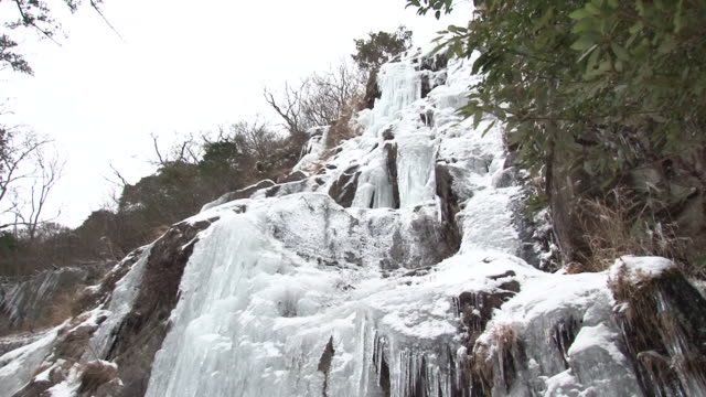 located in 724m height of gouradani valley lays the nanshogataki in the winder mountain water freezes and creates breathtaking cascades which... - icefall stock videos and b-roll footage
