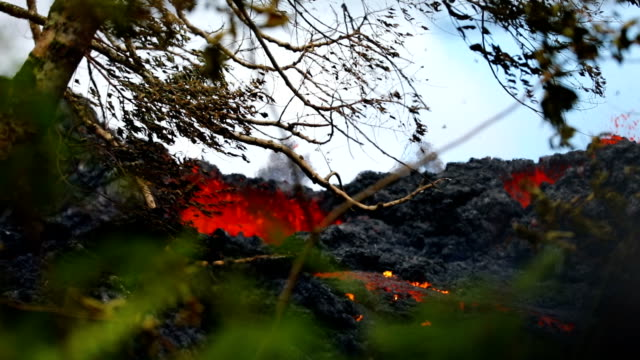vídeos de stock e filmes b-roll de located in a secluded unpopulated pasture in lanipuna gardens significantly northeast from puna geothermal venture f16 is ejecting aerial spatter... - big island ilhas do havai