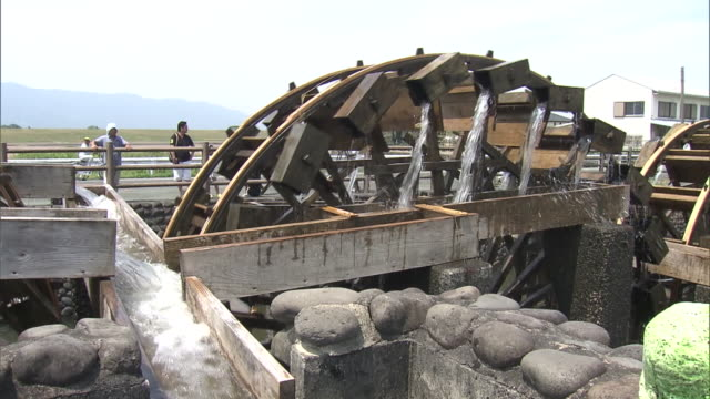 located in asakura fukuoka spinning for over 200 years now this waterwheel continues to supply the fields with water every year it is designated as... - water wheel stock videos and b-roll footage