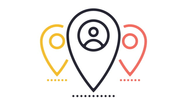 location tag line icon animation - geographical locations stock videos & royalty-free footage