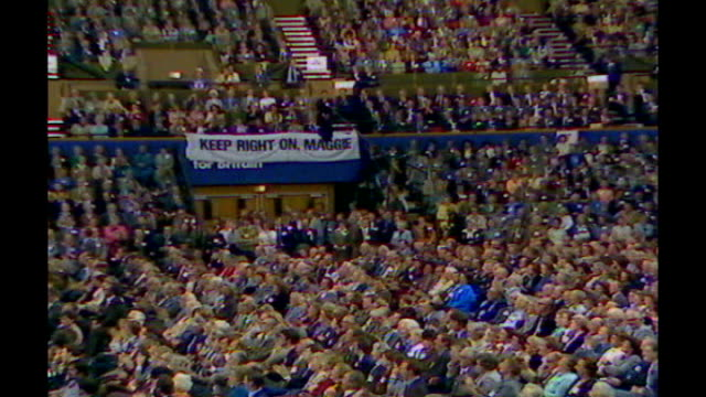 location unknown: margaret thatcher speech at conservative party conference sot - you turn if you want to / the lady's not for turning audience... - turning stock videos & royalty-free footage