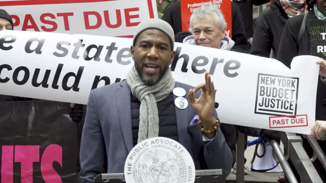 location: zuccotti park in downtown manhattan's financial district. public advocate jumaane d. williams joins advocates call for new taxes on the... - medicaid stock videos & royalty-free footage