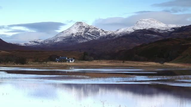 loch coultrie in wester ross, highlands, scotland, united kingdom, europe - スコットランド点の映像素材/bロール
