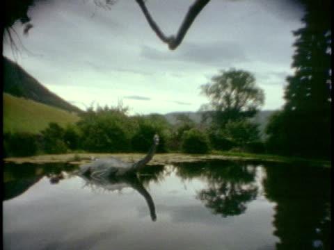 vídeos de stock, filmes e b-roll de ws loch ness monster sculpture on edge of water/ inverness-shire, scotland - monstro