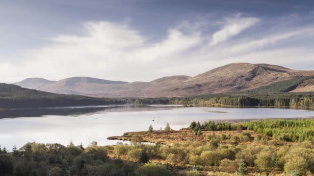 loch riecawr in the galloway forest park, scotland. - bacino idrico video stock e b–roll