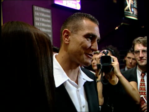 'lock stock and two smoking barrels' premiere; england: london: int vinnie jones in foyer for premiere of film and interview sot - whatever i've done... - film premiere stock videos & royalty-free footage