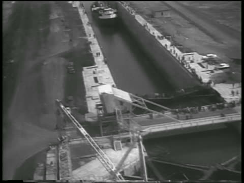 aerial lock system freighter in st lawrence seaway / canada / newsreel - 1959 stock videos & royalty-free footage