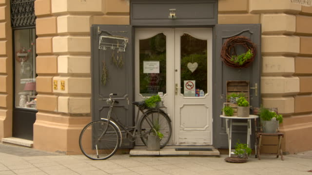 vidéos et rushes de lockdown: a highly decorated shop front display with plants and recycled items - roche