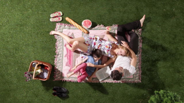 vidéos et rushes de ms, lockdown, a playful family relaxing on a blanket at a park, overhead view - pique nique