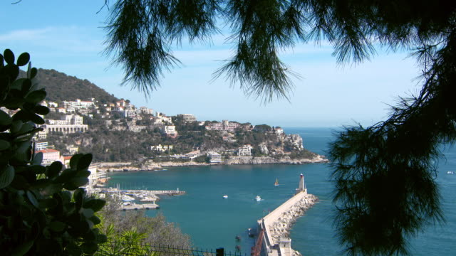 lockdown: a view over port lympia to cape nice from castle hill - 夏休み点の映像素材/bロール