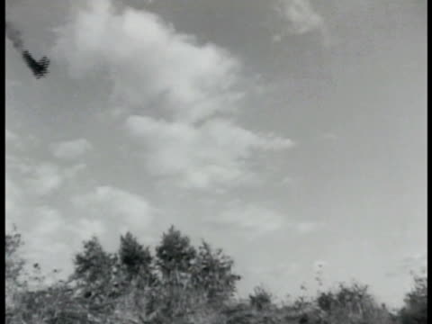 airplane in silhouette w/ smoking tail angled down to crash behind bushes puff of white smoke rising - airplane tail stock videos and b-roll footage