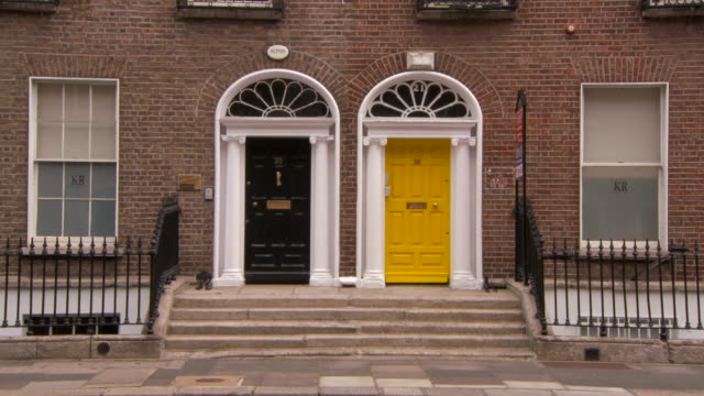 lockdown: beautiful doors of homes in dublin ireland - symmetry stock videos & royalty-free footage
