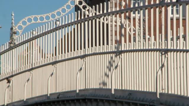 lockdown close-up: steel railings of ha'penny bridge in dublin ireland - durability stock videos & royalty-free footage