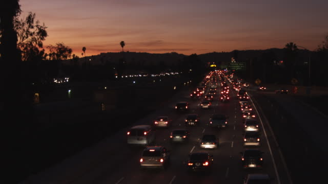 WS, Lockdown, dusk rush hour in Los Angeles, California, USA