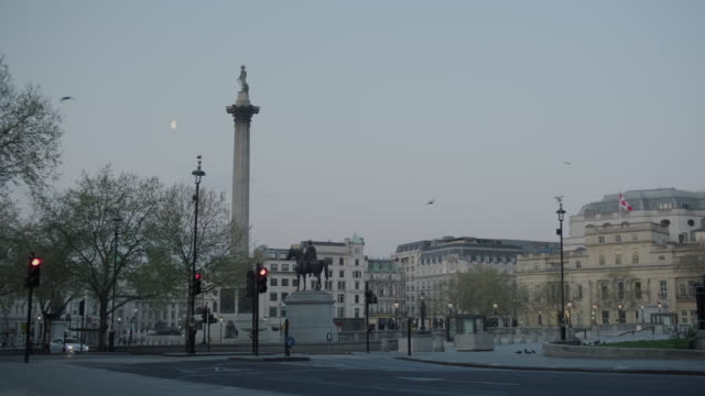 lockdown london, empty trafalgar square with nelson's column with moon during coronavirus pandemic, no people - lockdown stock-videos und b-roll-filmmaterial