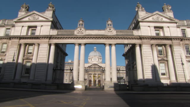 Lockdown: Magnificent Front View of Government Building in Dublin Ireland