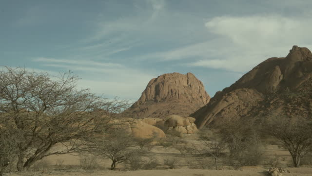 lockdown shot of bare trees and rocks in landscape against cloudy sky, idyllic shot of desert on sunny day - spitzkoppe, namibia - bare tree stock-videos und b-roll-filmmaterial