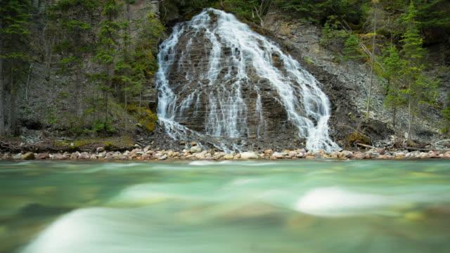 lockdown shot of beautiful cascade from rocks flowing in river - jasper national park, canada - jasper national park stock videos & royalty-free footage