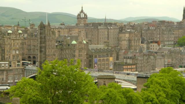 lockdown shot of bridge by buildings near cathedral in city against sky - edinburgh, scotland - eyesight stock videos & royalty-free footage
