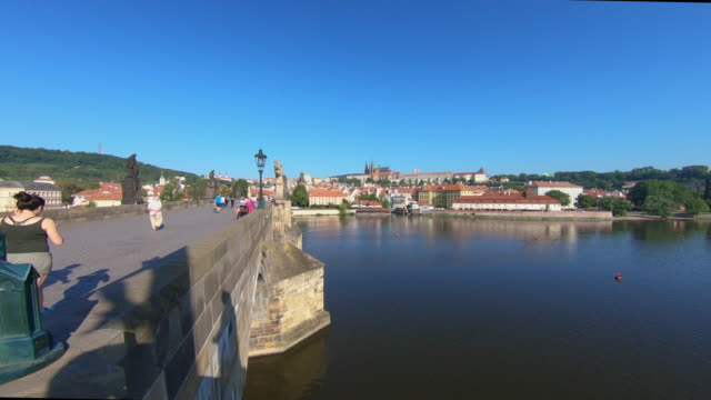 ws lockdown shot of charles bridge, prague, czech republic - charles bridge stock videos and b-roll footage