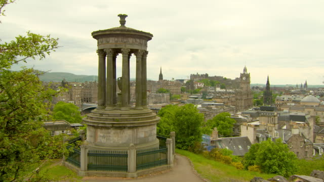 lockdown shot of cityscape against cloudy sky seen from famous landmark in city - edinburgh, scotland - temple building stock videos & royalty-free footage