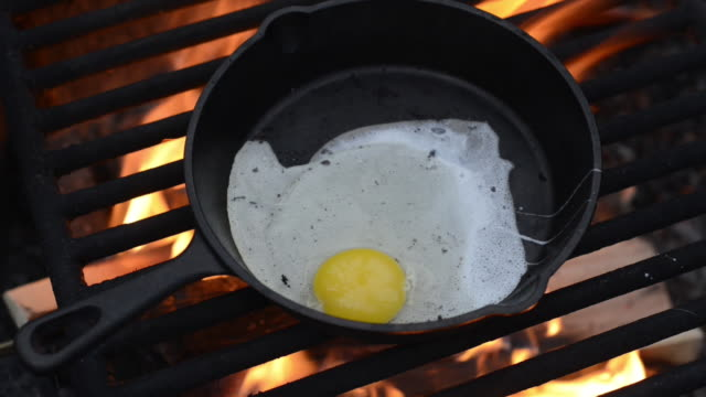 vídeos de stock, filmes e b-roll de lockdown shot of egg being cooked in frying pan on campfire - skillet cooking pan