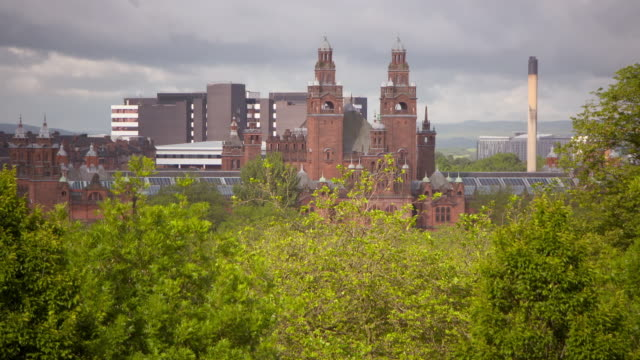 lockdown shot of famous museum building in city against sky seen from kelvingrove park on sunny day - glasgow, scotland - place of worship stock videos & royalty-free footage