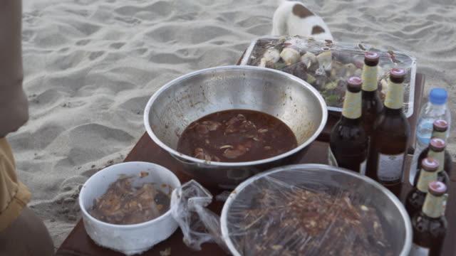 stockvideo's en b-roll-footage met lockdown shot of stray dog wandering by food on table with man at beach - luang prabang, laos - koffie drank
