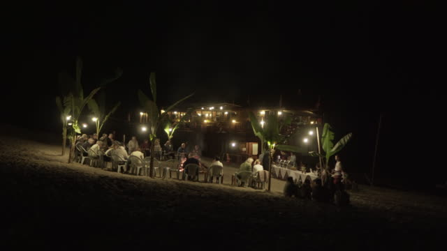 lockdown shot of tourists at illuminated campsite against sky during night - luang phabang, laos - film festival stock videos & royalty-free footage